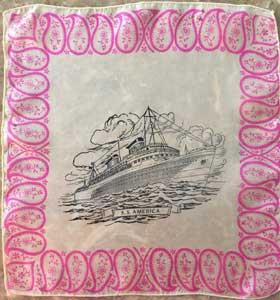 SS America ship souvenir kerchief