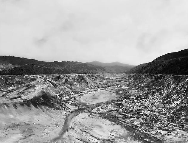 Empty reservoir after St. Francis dam collapse