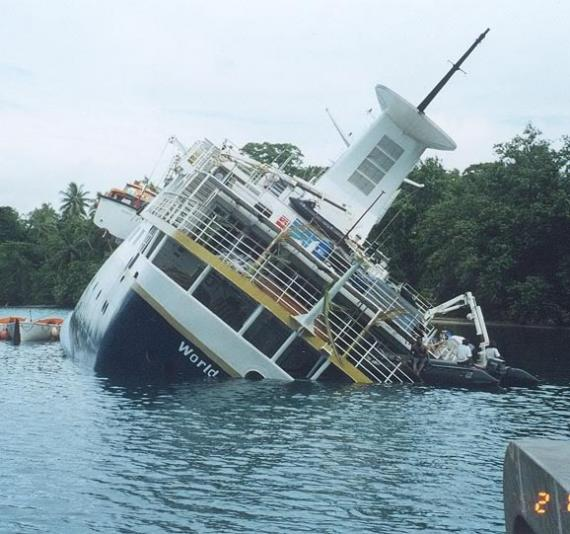 Shipwrecked World Discoverer Cruise Ship Sometimes
