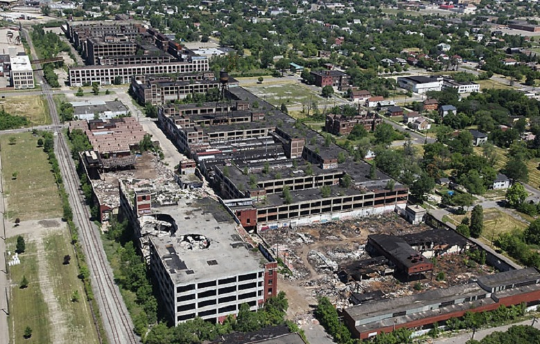Aerial view of the Packard factory, circa 2011