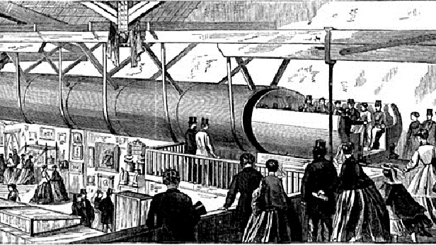illustration of Beach's first subway Pneumatic Transit