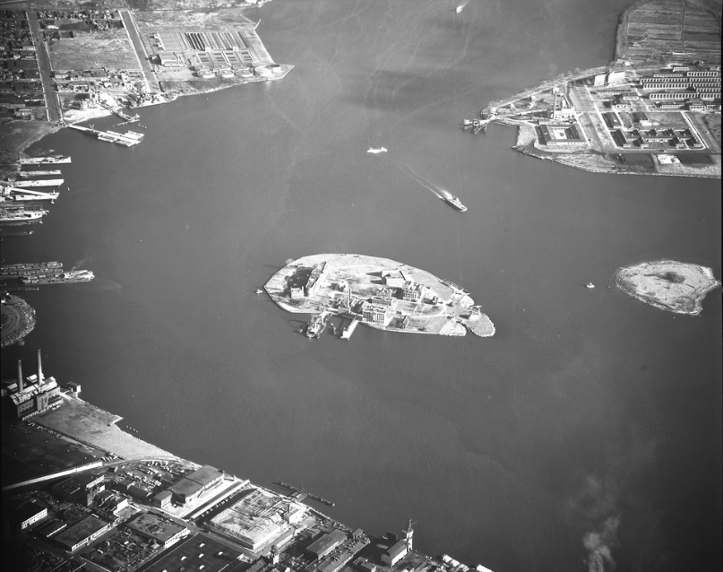 North Brother Island aerial view circa 1957