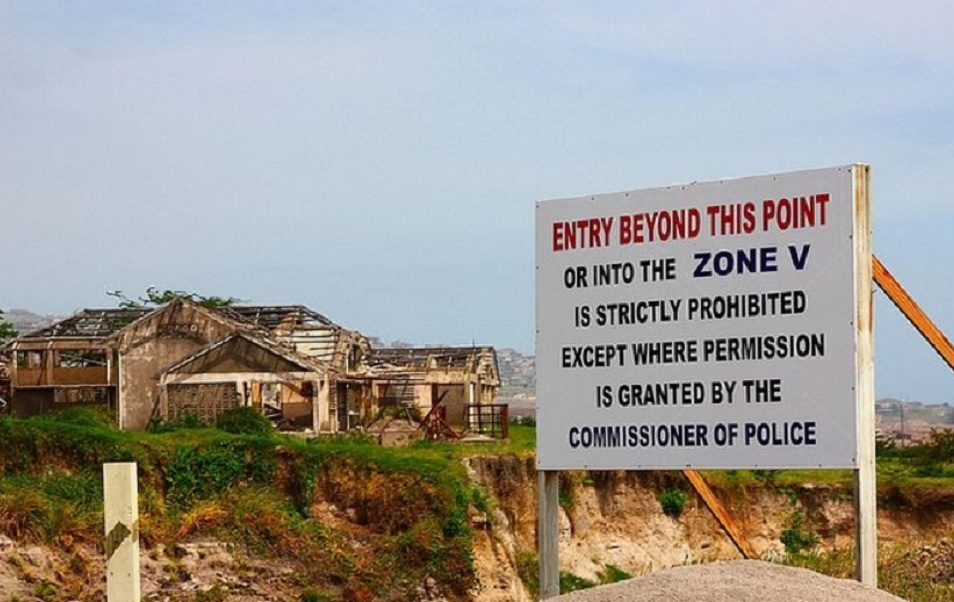 Plymouth Montserrat no entry sign