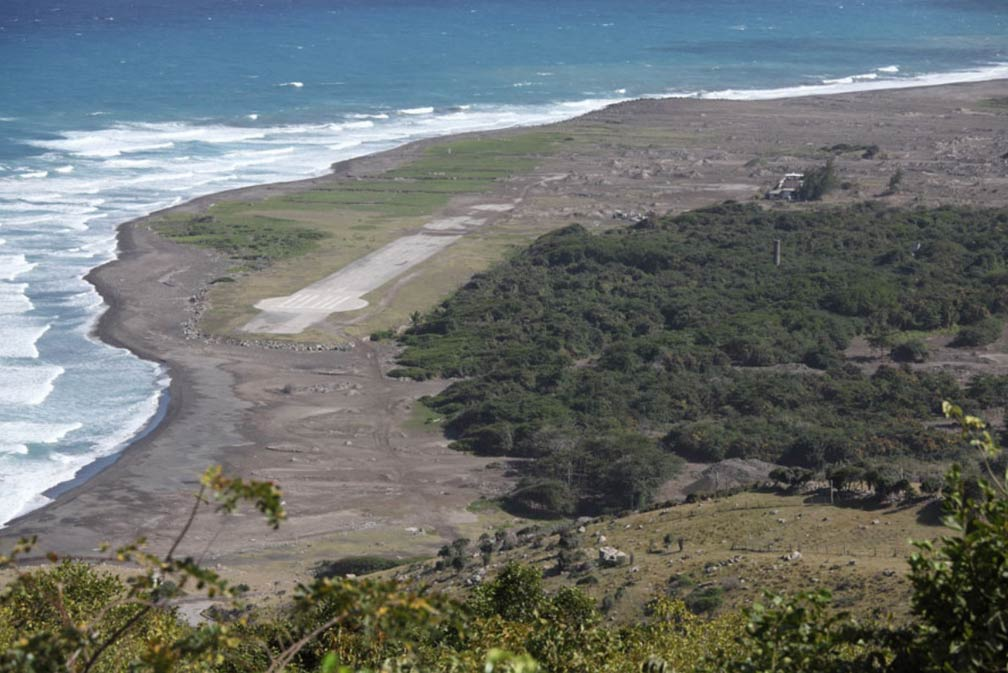 Plymouth Montserrat airport eruption damage
