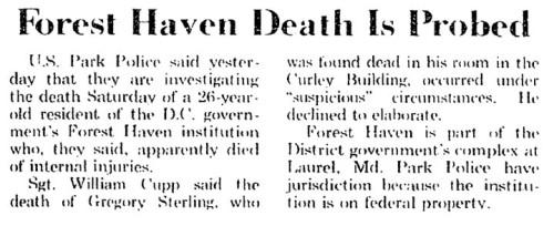 Forest Haven death probe gregory sterling 1974