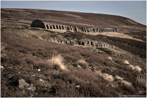 Peat drying stands at Old Gang.