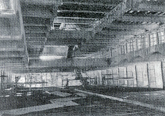 Interior of main block during construction, circa 1965