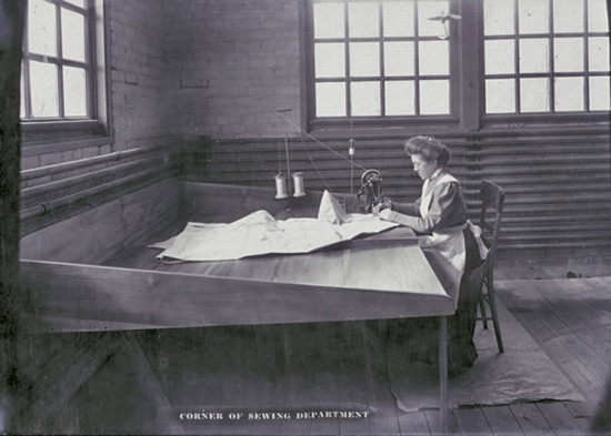 Ida Holdgreve, Wright Company seamstress and the first American woman to make a living building airplanes (circa 1911)
