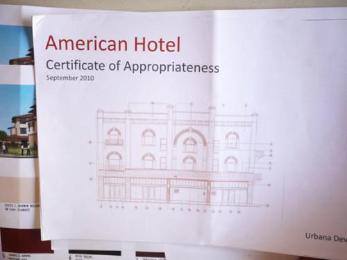 American Hotel certificate appropriateness