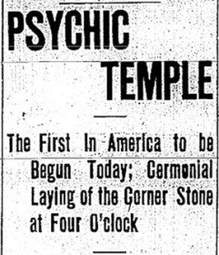 Psychic Temple newspaper announcement 1905