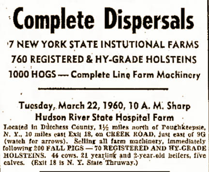 Hudson River State Hospital complete dispersals ad 1960