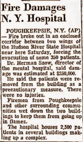 Fire damages Hudson River State Hospital
