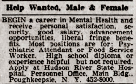 Hudson River State Hospital help wanted ad 1967