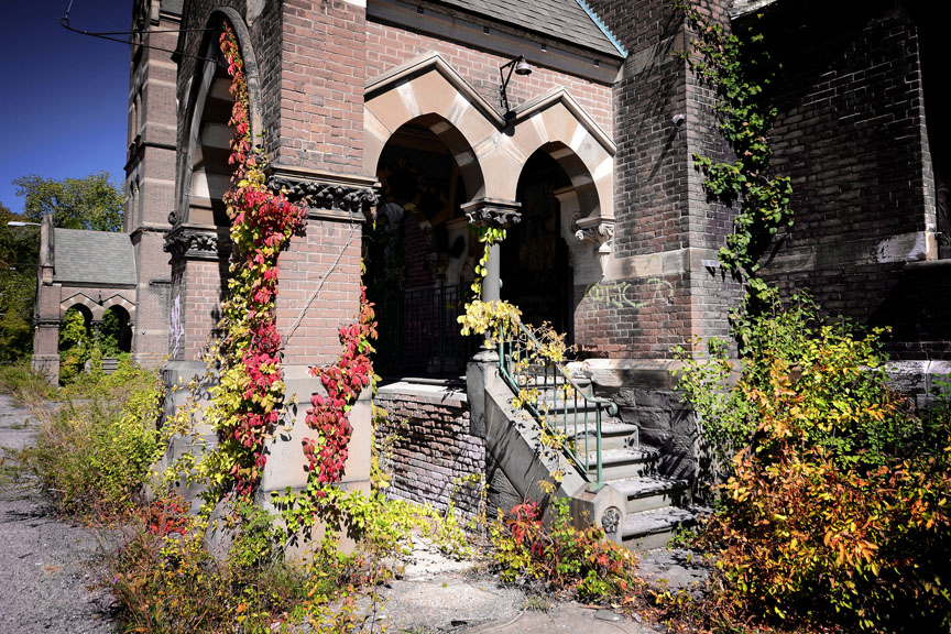 Hudson River State Hospital overgrown entry 2015