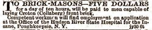 Hudson River State Hospital bricklayers wanted