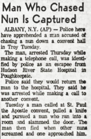 Man who chased nun is captured article Hudson River State Hospital