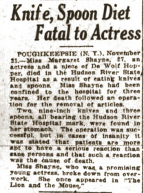 knife, spoon diet fatal to actress at Hudson River State Hospital article