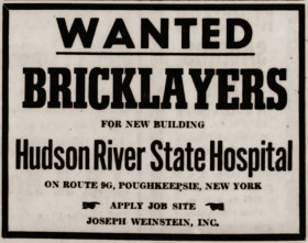 Hudson River State Hospital bricklayers wanted ad 1955