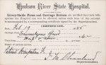 Hudson River State Hospital patient voucher circa 1880