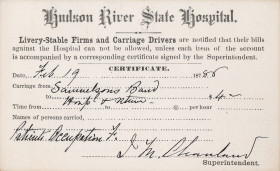 Hudson River State Hospital patient voucher circa 1880