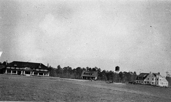 Overhills clubhouse, Harriman's Cottage, and Covert Cottage, circa 1910s-1920s.