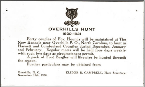 Overhills Hunt Club Card 1920
