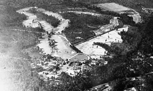 """The Hill"" and Overhills golf course, circa 1930s. Note the groomed polo fields in upper right corner."