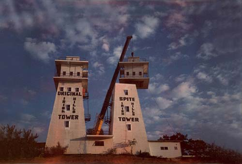 Replacing the observation decks of the Irish Hills Towers, circa 1972