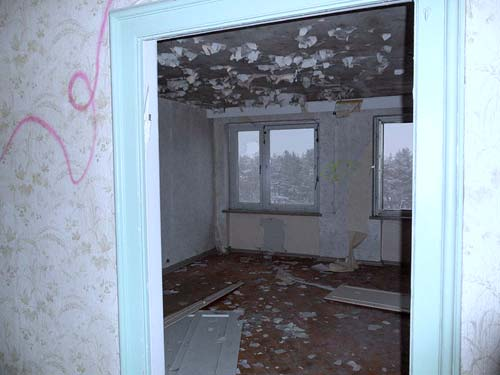 inside an abandoned room in Prora, Rügen