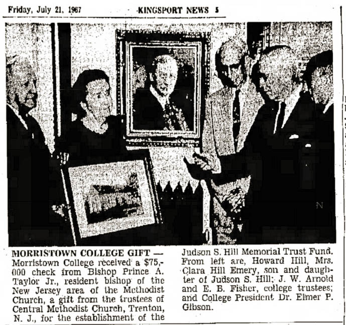 Judson Hill Memorial Trust Fund donation 1967