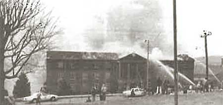 Morristown firefighters battle a blaze at Wallace Hall in 1983.