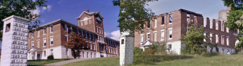 Morristown College's Laura Yard Hill Hall, before and after fire.