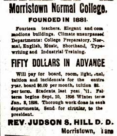 Morristown Normal College advertisement, circa 1900