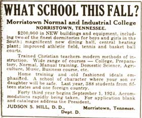 Morristown College What School This Fall 1924 Judson Hill