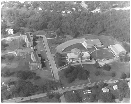 Aerial view of Morristown College's historic district, circa 1983