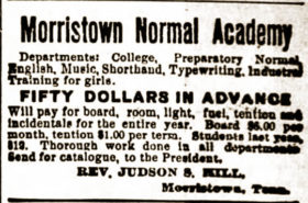 Morristown Normal Academy advertisement 1894
