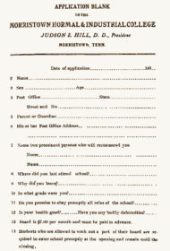vintage Morristown College application