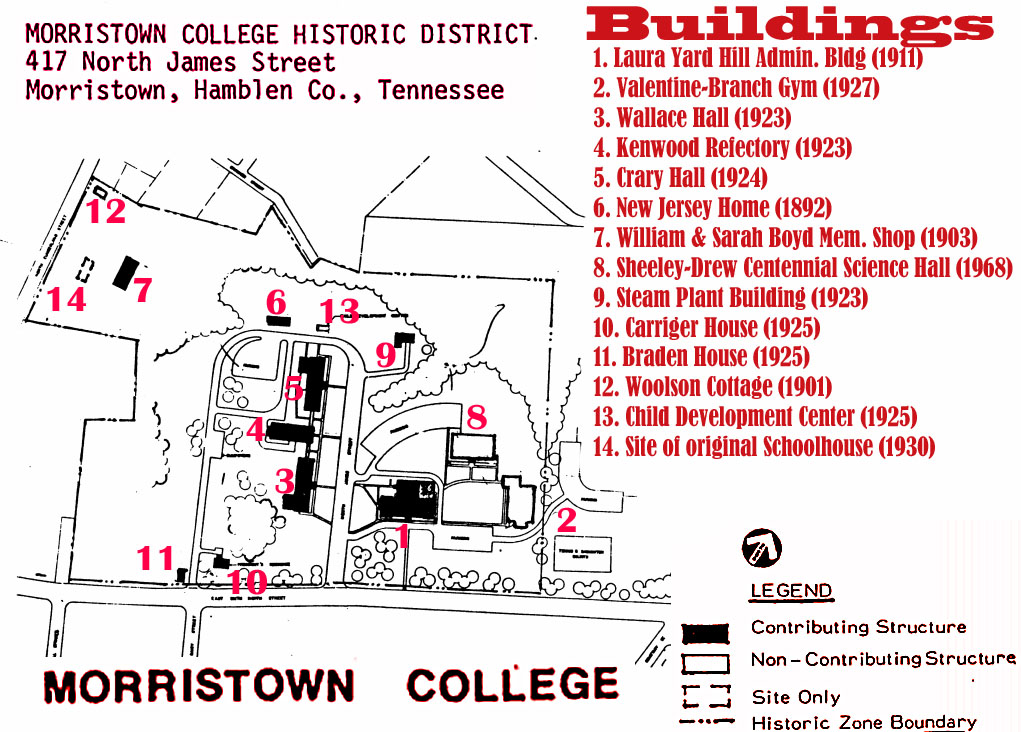 Morristown College site map
