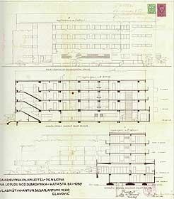Plans showing various elevations of the Grand Hotel on Lopud Island, circa 1934.