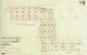 Plans for the Grand Hotel, circa 1934. The portion shaded red reflects the 1970s addition (later demolished in 2008).
