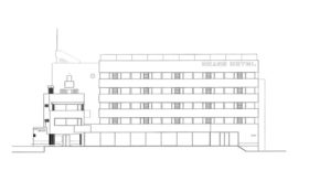 Grand Hotel west elevation (oceanfront) rendering.
