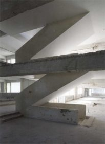 The interior concrete stairwell of the largely gutted Grand Hotel on Lopud.