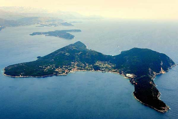 Aerial photo of the Croatian island of Lopud in the Adriatic Sea.