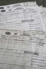 Blueprints, documents, notes and receipts left behind by Bugatti Automobili S.p.A.