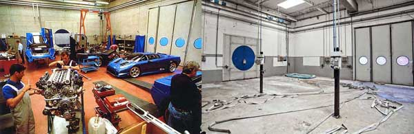 Early testing of the 1991 EB110 prototype in the 'Prova Motori' room of the factory, while the car still had its Gandini lines. On the right is a 'Prova Motori' room today.