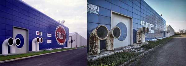 "The ""Blue Building"" at Bugatti Automobili, pictured here in 1993 and 2014, was home to the EB110's engine development and testing."