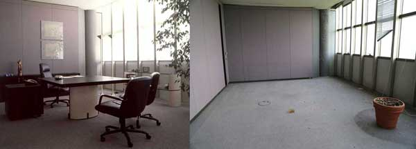 Bugatti Automobili SpA chief executive Romano Artioli's office as it appeared in 1993 and 2014.