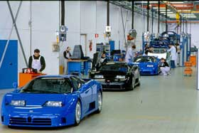 A row of EB110s are built in 1993 at the Bugatti Automobili factory in Campogalliano, Italy.