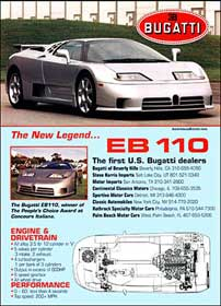 "Dealer announcement for the U.S. version ""Bugatti America"" of the EB110 supercar."
