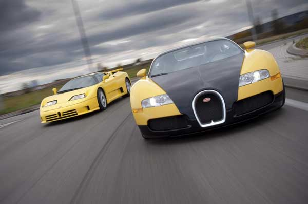 The Bugatti EB110 and its baby brother, the Veyron.